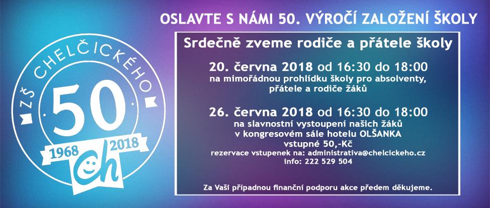 50 let ZŠ a MŠ Chelčického, Praha 3