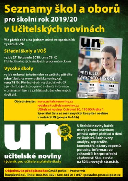 Seznamy škol a oborů na šk. rok 2019-2020