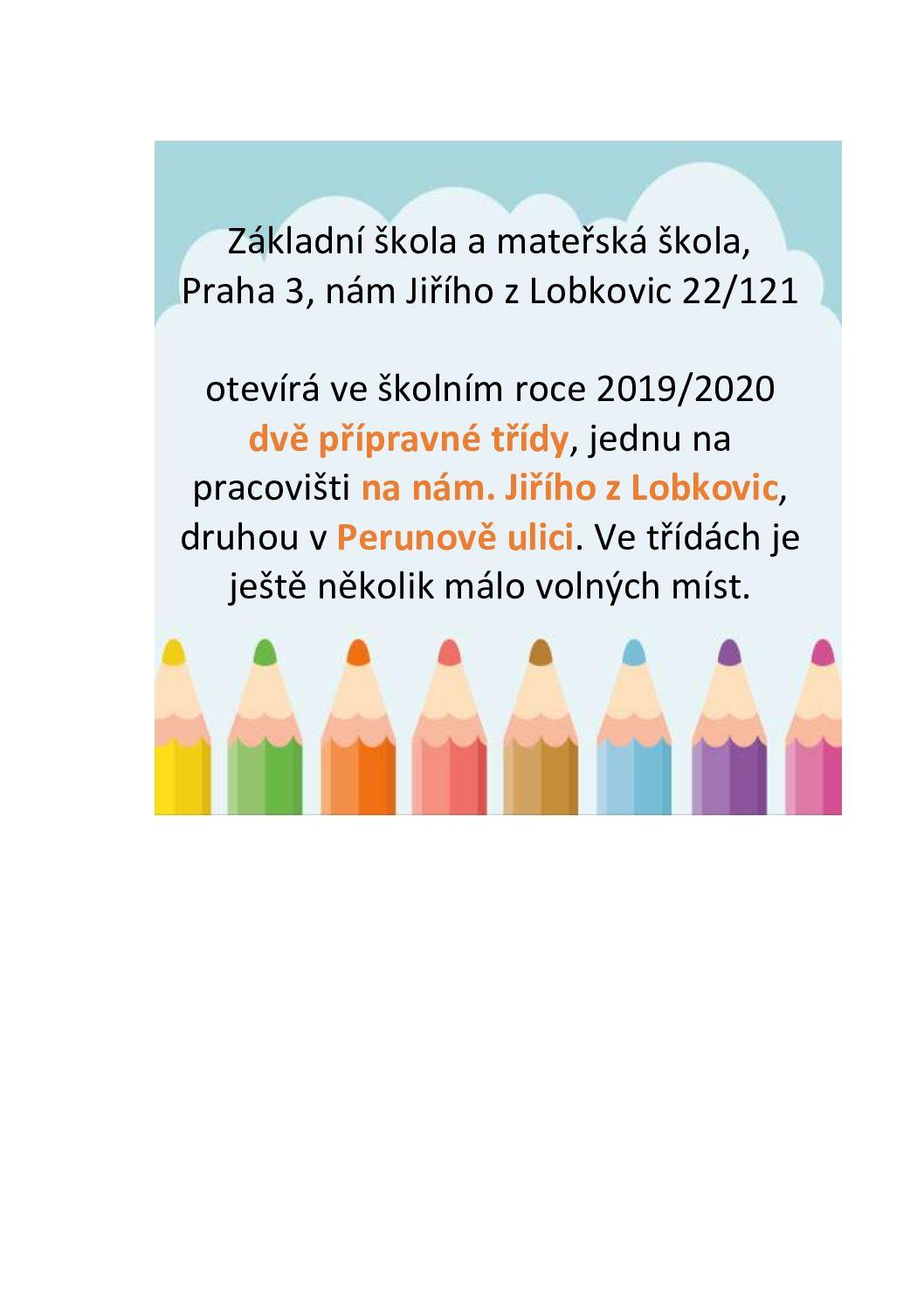 Přípravné třídy na ZŠ Jiřího z Lobkovic